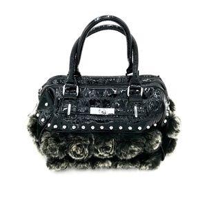 Black Fur & Patent Leather Handbag